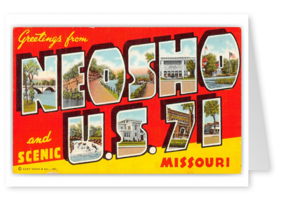 Neosho Missouri US Highway 71 Greetings Large Letter