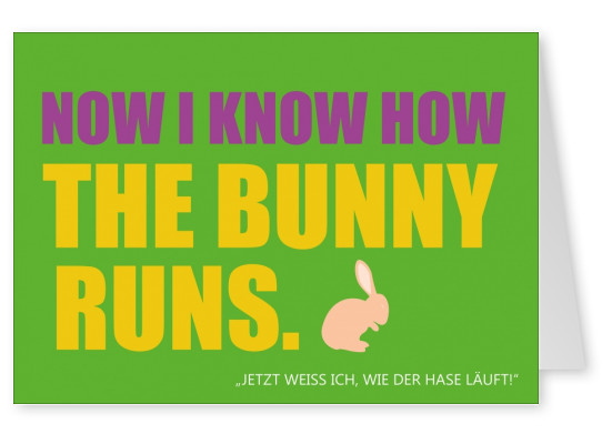 I know how the bunny runs-lustige Denglisch Karte in giftgrün