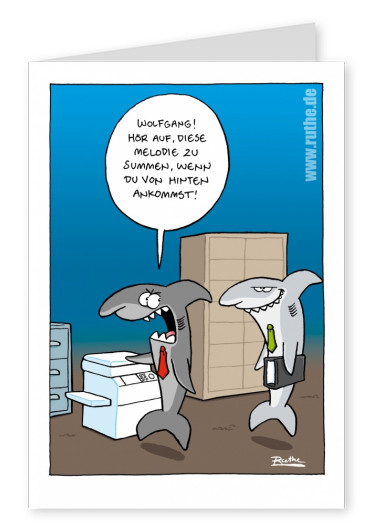 Ruthe Cartoon, Hai am Kopierer postkartenmotiv