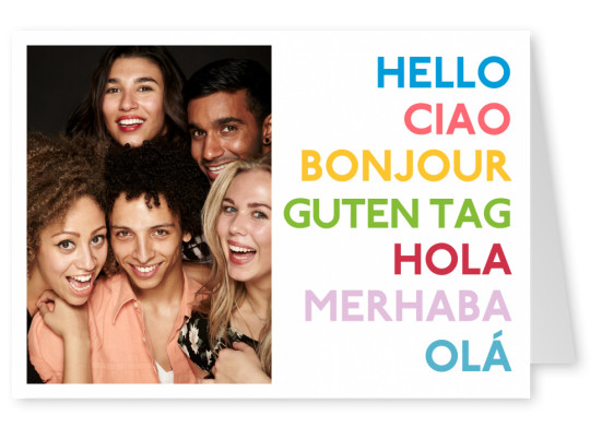 Postcard Happiness Project multilingual hello