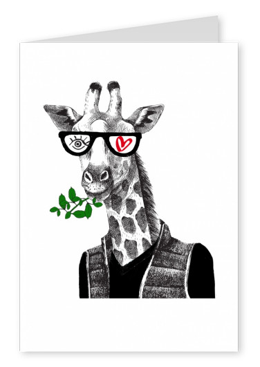 Illustration Eye love Giraffe