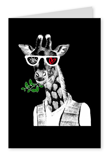 Illustration Eye love Giraffe im negativ