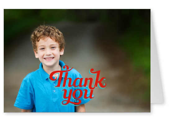 thank you in fetter roter Retroschrift mit blauer Outline