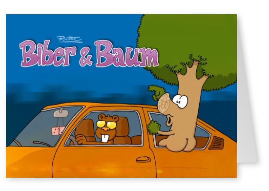 Ruthe-Cartoon, Biber & Baum mypostcard postkarte