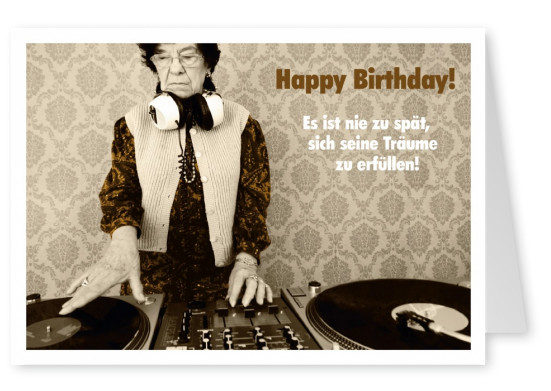 retro postkarte happy birthday oma am dj pult
