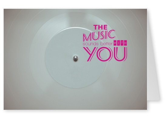 the music sounds better with you platte silber pink postkarte