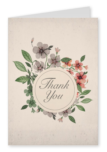 vintage flower thank you postkarte