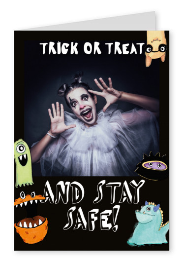 Postkarte Trick or treat and stay safe