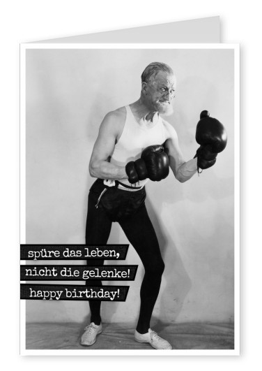 alter mann mit boxhandschuhe happy birthday postkarte vintage design