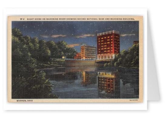 Warren, Ohio, night scene on Mahoning River