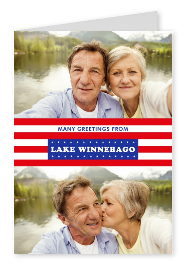 Lake Winnebago Grüße USA Flaggendesign