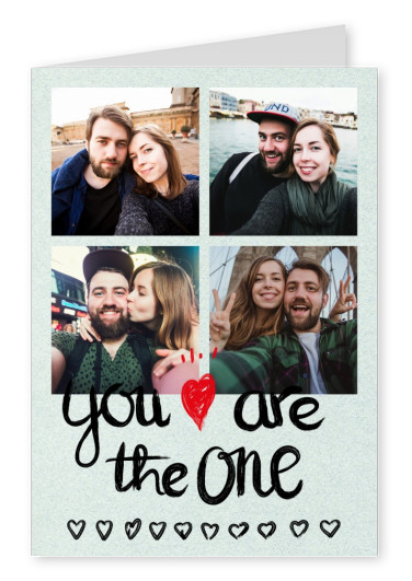 You are the one, heart & arrow in crayon You are the one mit Herz und Pfeil in Kreideschrift–mypostcard