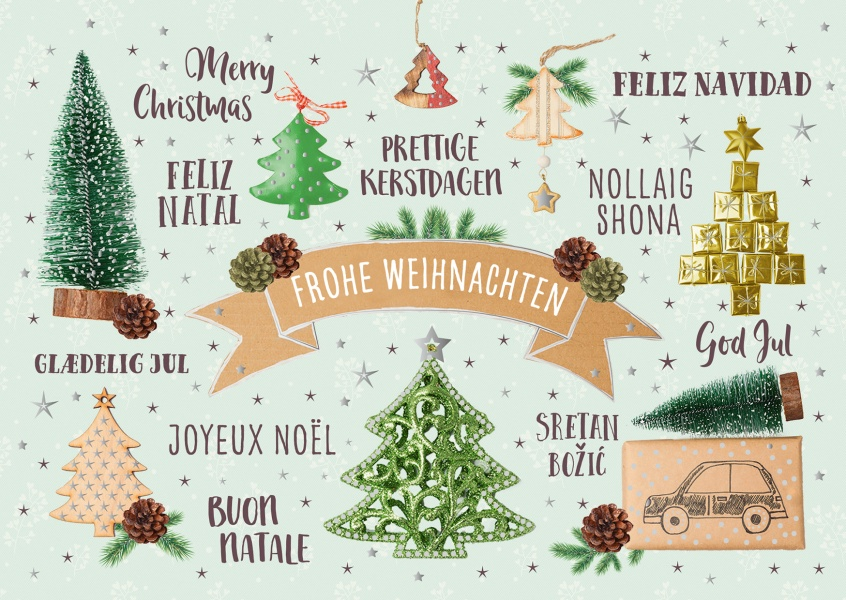 illustration christmas tree various languages christmas decoration