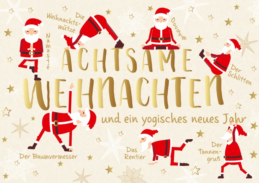 weihnachts yoga frohe weihnachten echte postkarten. Black Bedroom Furniture Sets. Home Design Ideas