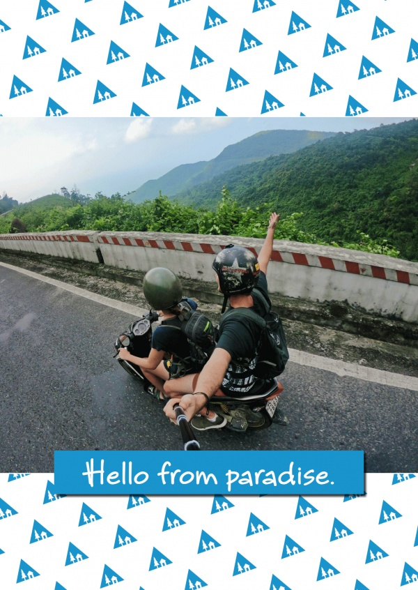 patroon blauw wit hello from paradise