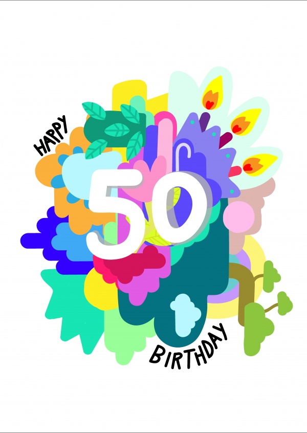 colorful card 50. Birthday