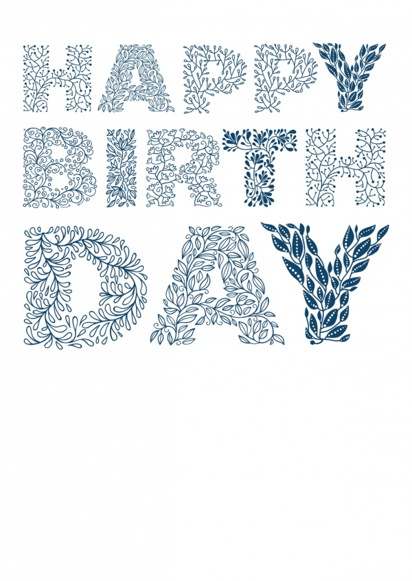 birthday wishes in floral typography