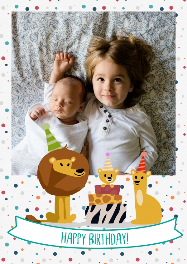 Happy Birthday Lion Family With Baby