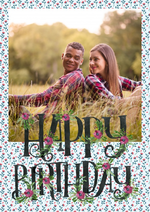 personalize birthday card for one photo with flower pattern and watercolor lettering