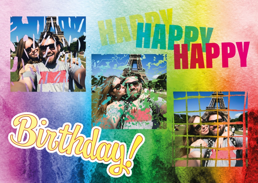 happy birthday triple collage with crazy, colurful background blurr