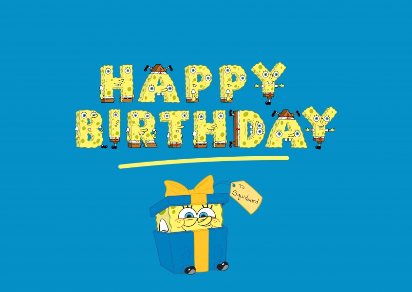 Spongebob - Happy Birthday!, spongebob letters