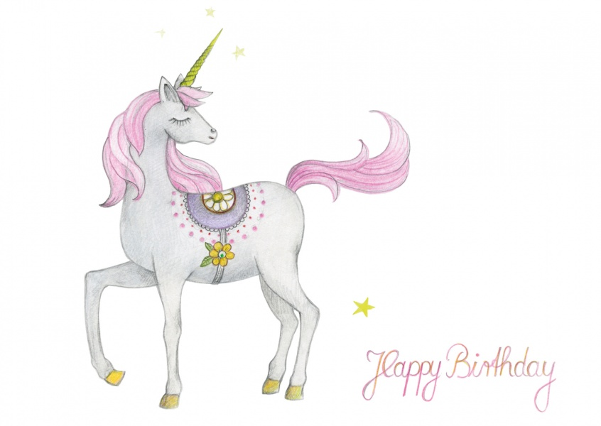 Happy Birthday card with illustration of unicorn