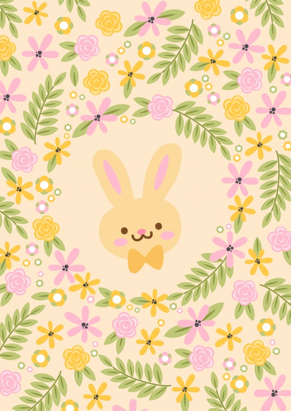 sweet Bunny with flowers around it