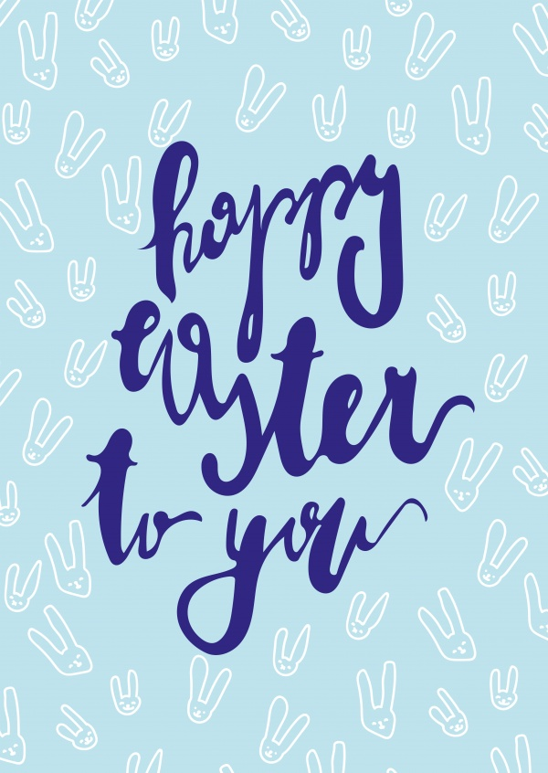 happy easter to you with blue background and bunny-pattern