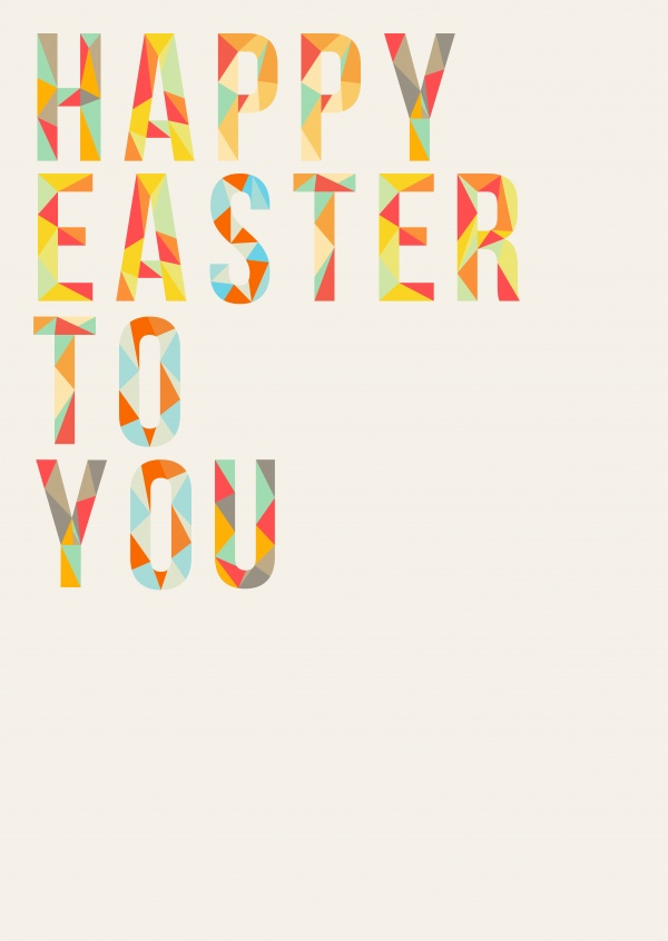 happy easter to you triangle style font on pastel background