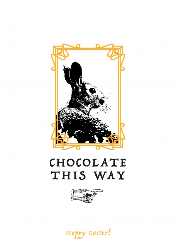 vintage bunny picture framed with easter chocolate signpost