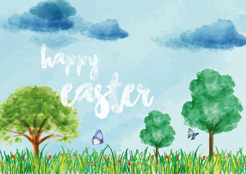 happy easter watercolor landscape happy easter send real