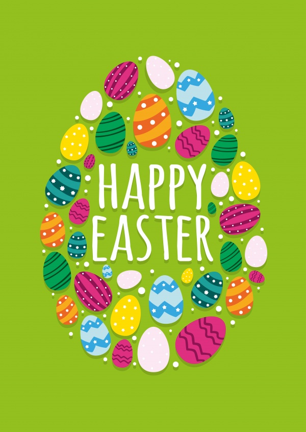 happy easer with colorful easter-eggs and green background