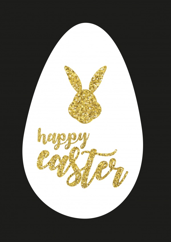 happy easter with black background and glitter
