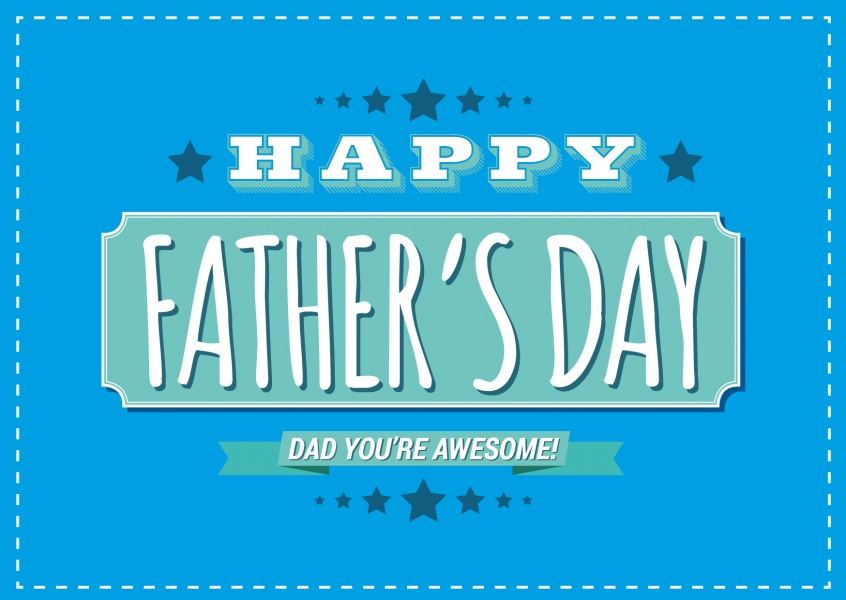 happy father's day: you're awesome in blue and white vintage lettering