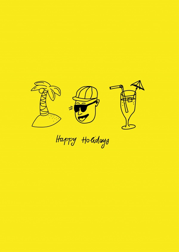 happy holidays, yellow card