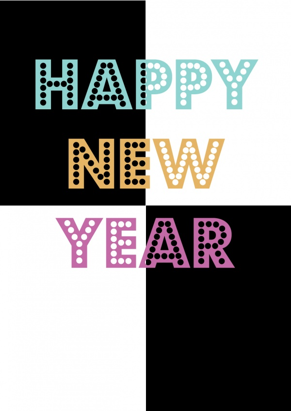 black and white happy new year card with colored lettering