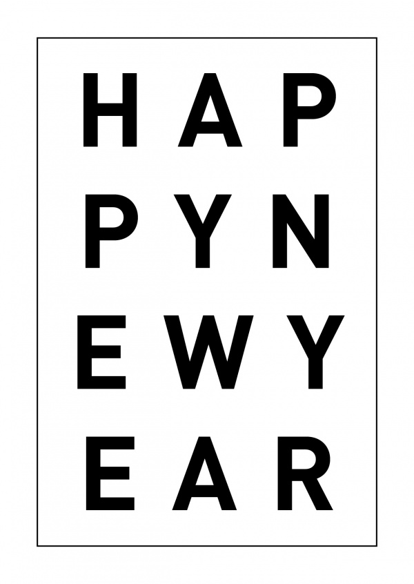 happy new year black and white lettering