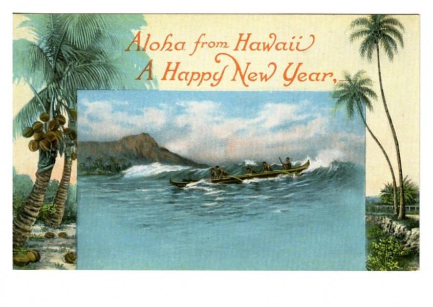 Curt Teich Postcard Archives Collection Aloha from Hawai A Happy New Year