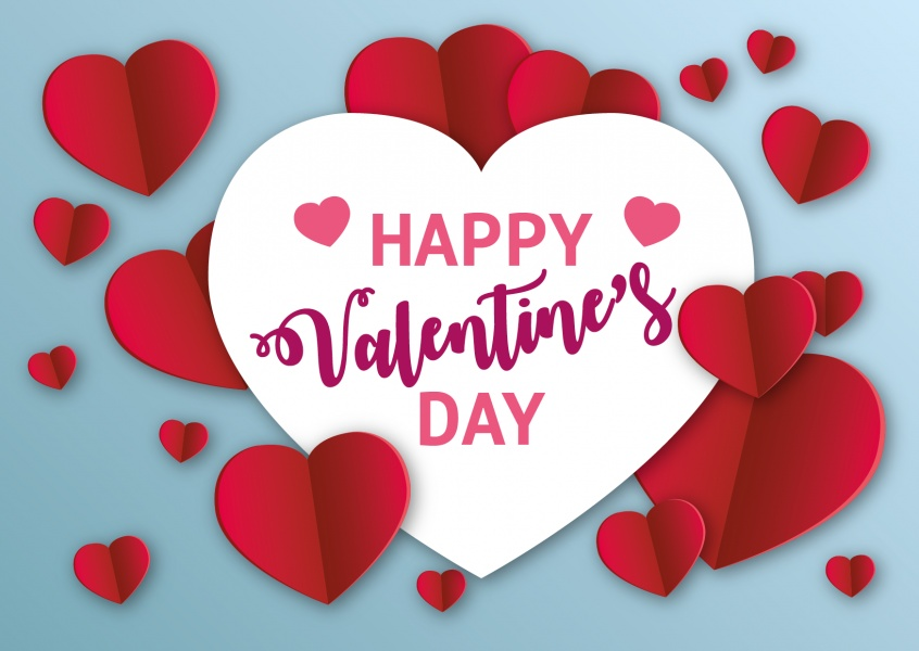 Valentine`s card with red and white hearts and quote: happy Valentine`s day