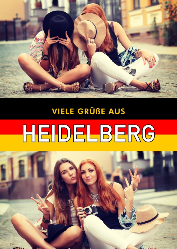 Heidelberg greetings in German flag design