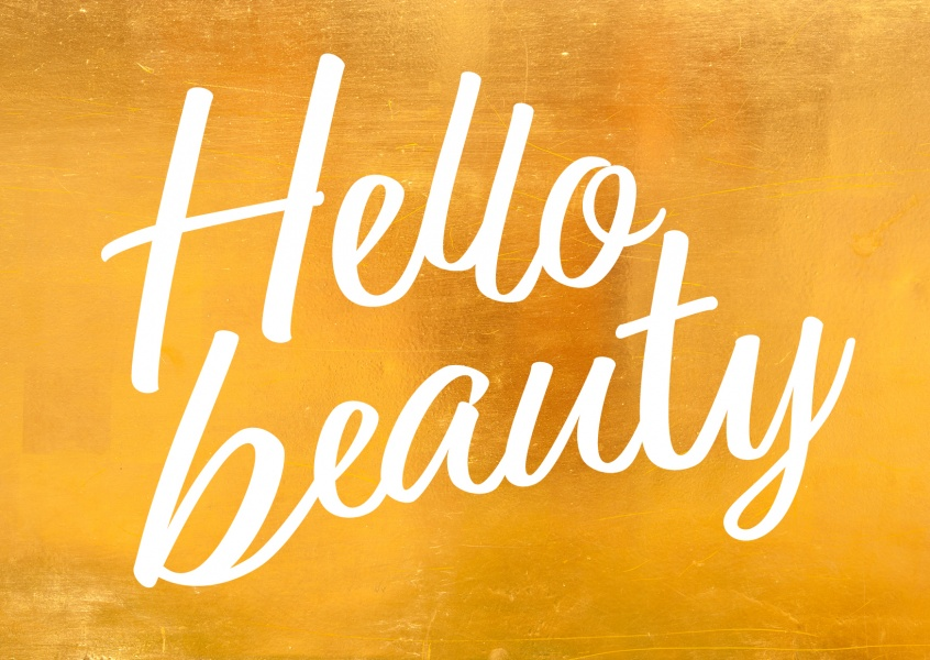 hello beauty gold postkarten design mypostcard