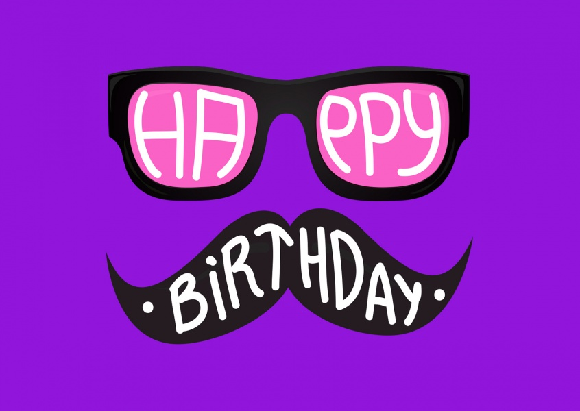 hipster birthday wishes with nerd glasses and moustache (purple)