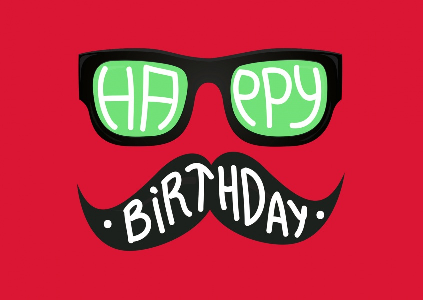 hipster birthday wishes with nerd glasses and moustache (red)