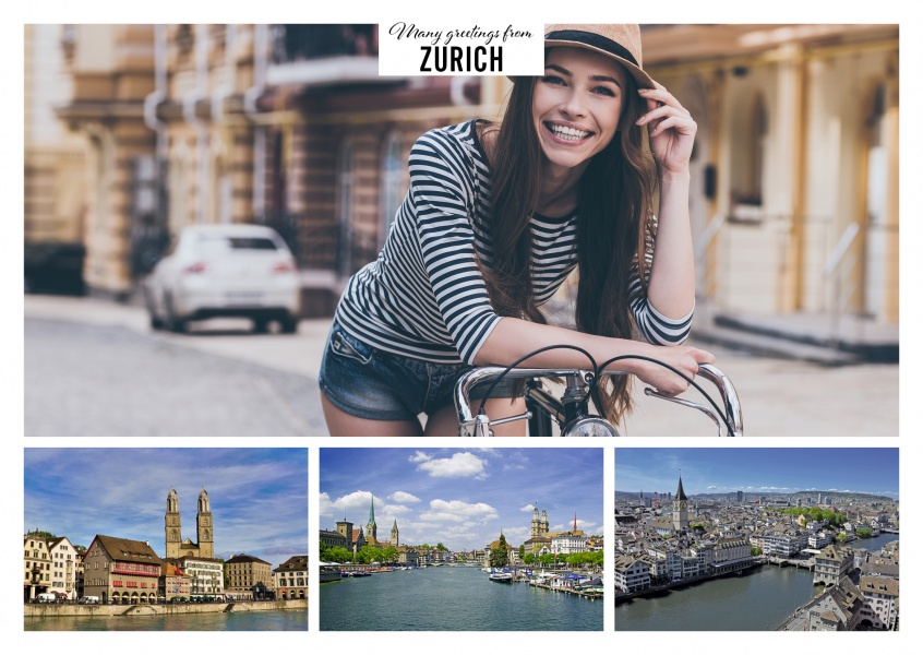 Three photos of the zurich old town and the Limmat