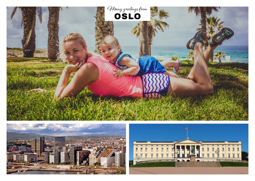 Oslo port and the parliament Stortinget in double collage