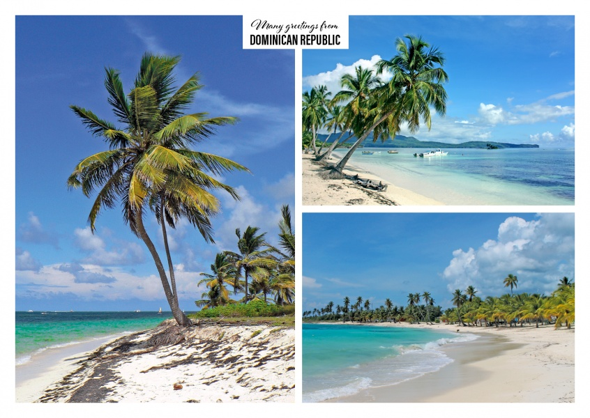 White beaches of the Dominican Republic with palms in three photos