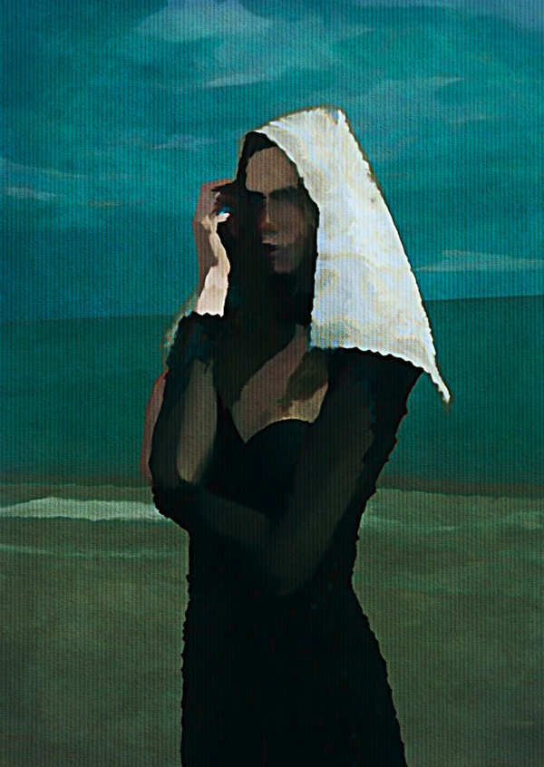 Kubistika woman with head cloth by the ocean