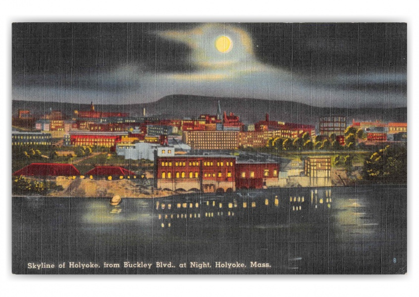 Holyoke Massachusetts Skyline from Buckley Blvd at Night