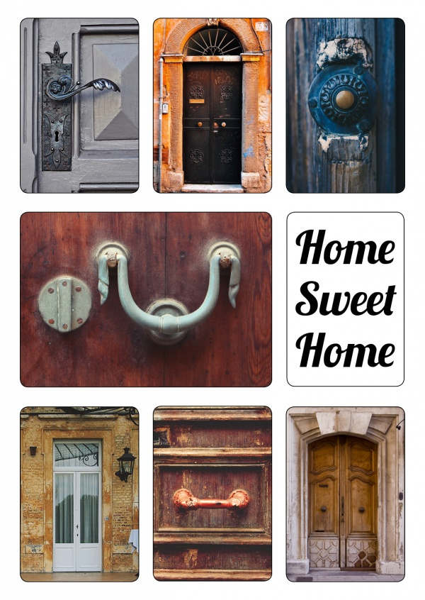 images of front-doors with the message home sweet home