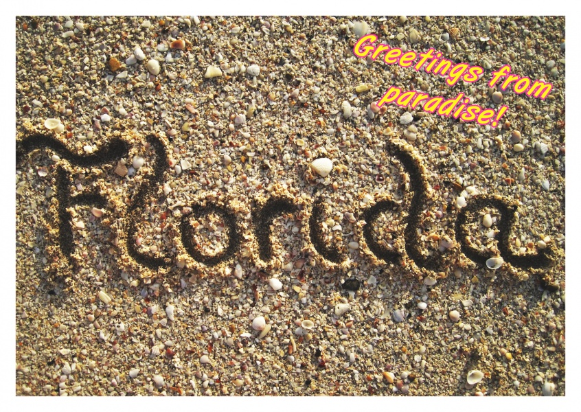 photo Florida written in the sand